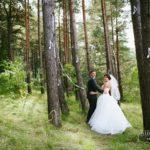 kāzu foto priežu mežā